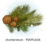 pine branch with cone | Shutterstock .eps vector #90091636