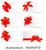 big set of red gift bows with... | Shutterstock .eps vector #90096970