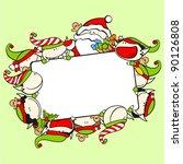 Christmas Frame With Santa...