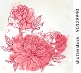 beautiful peony  bouquet design ... | Shutterstock .eps vector #90129940