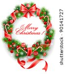 wreath with  spruce  tree | Shutterstock .eps vector #90141727