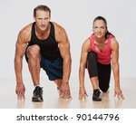 athletic man and woman doing... | Shutterstock . vector #90144796
