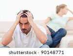 angry couple mad at each other... | Shutterstock . vector #90148771