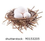 Nest With Eggs Isolated On A...