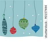 christmas ornaments | Shutterstock .eps vector #90157444