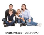 happy family with their... | Shutterstock . vector #90198997