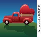 vintage truck hauling heart | Shutterstock . vector #90204913
