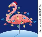 christmas pink flamingo | Shutterstock . vector #90204934