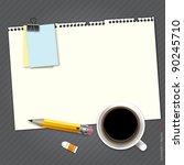 notebook on desktop for work...   Shutterstock .eps vector #90245710