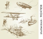 old vehicles   hand drawn... | Shutterstock .eps vector #90247858