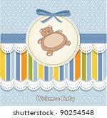 baby shower card with teddy | Shutterstock .eps vector #90254548