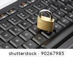 secured lock on a black keyboard | Shutterstock . vector #90267985