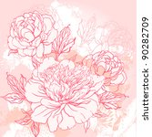 Beautiful peony  bouquet design on beige background. Hand drawn vector illustration. - stock vector