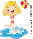 girl playing ball   Shutterstock .eps vector #90284704