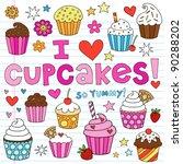 hand drawn cupcakes dessert...   Shutterstock .eps vector #90288202