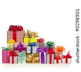 Many Colorful Gift Boxes With...