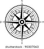 black isolated wind rose | Shutterstock .eps vector #90307063