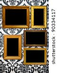 gold frame on vintage wallpaper ... | Shutterstock . vector #90334117