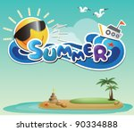 happy tropical paradise   with... | Shutterstock .eps vector #90334888