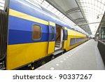 train departure in amsterdam... | Shutterstock . vector #90337267