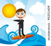 boy over surfboard cartoon with ... | Shutterstock .eps vector #90351409