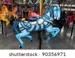 Blue Carousel Horse On Merry G...