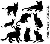 cats silhouette collection | Shutterstock .eps vector #90367333