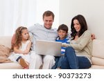 young family surfing the... | Shutterstock . vector #90373273