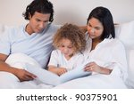 happy young family enjoys... | Shutterstock . vector #90375901