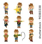 cartoon cowboy icon   Shutterstock .eps vector #90383338
