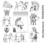 old greek set illustration | Shutterstock . vector #90400393