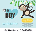 cute baby boy shower. vector illustration - stock vector