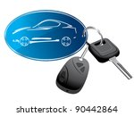 Car key ring with remote vector