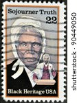 Small photo of UNITED STATES OF AMERICA- CIRCA 1986: stamp printed in USA, shows Sojourner Truth, abolitionist, black heritage serie, circa 1986