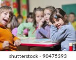 happy child kids group have fun ... | Shutterstock . vector #90475393