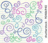 swirls and curls hand drawn... | Shutterstock .eps vector #90486940