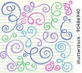 Swirls and Curls Hand-Drawn Sketchy Notebook Doodles Ornamental Flourish Set- Vector Illustration Design Elements on Lined Sketchbook Paper Background