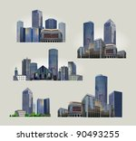 set of modern city views | Shutterstock .eps vector #90493255