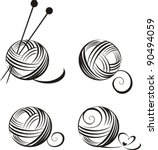 set of yarn balls with needles... | Shutterstock .eps vector #90494059