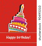 vector happy birthday card.... | Shutterstock .eps vector #90495310
