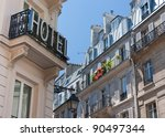 View of an hotel and buildings with typical Parisian architecture