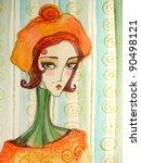 illustrated portrait of... | Shutterstock . vector #90498121