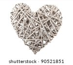 One Wooden Heart Isolated Over...