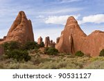 Natural rock sculptures in Arches National Park - Dinosaurs. Utah, USA - stock photo