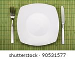 white empty plate  knife and... | Shutterstock . vector #90531577