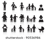 black happy family icons set | Shutterstock .eps vector #90536986