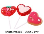 Red heart shape lollipops isolated on white background. - stock photo
