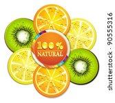 slice of orange  kiwi  and... | Shutterstock .eps vector #90555316