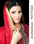 muslim indian bride wearing a... | Shutterstock . vector #90575263