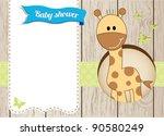 baby shower giraffe boy card | Shutterstock .eps vector #90580249